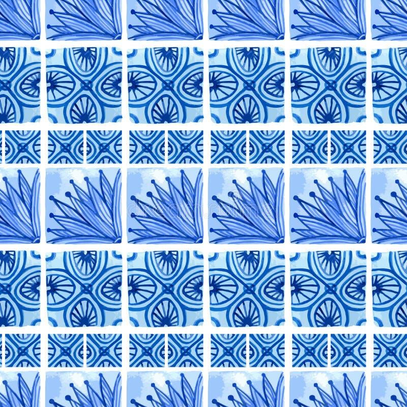 水彩蓝色花卉无缝的样式 导航在国画样式的背景在瓷或俄语、阿拉伯语和荷兰 库存例证