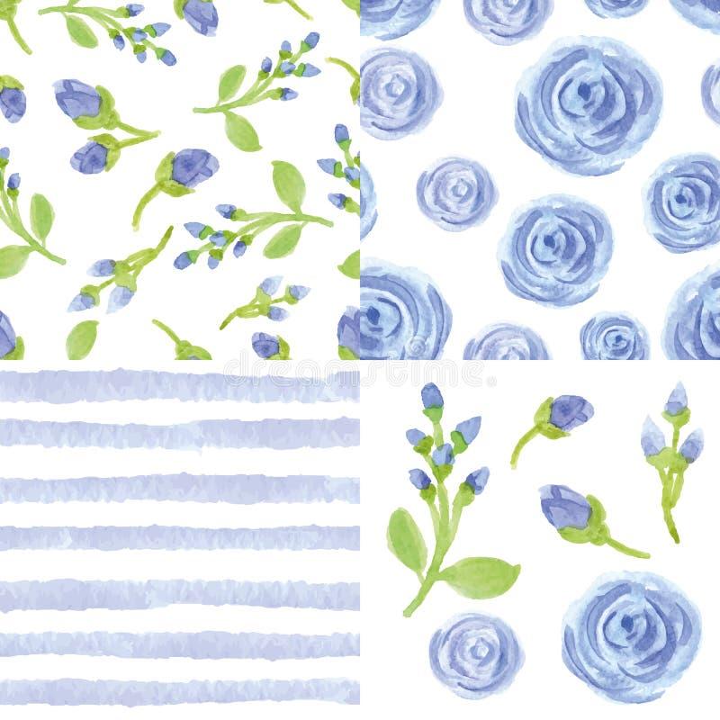 水彩蓝色花,小条无缝的样式集合 库存例证