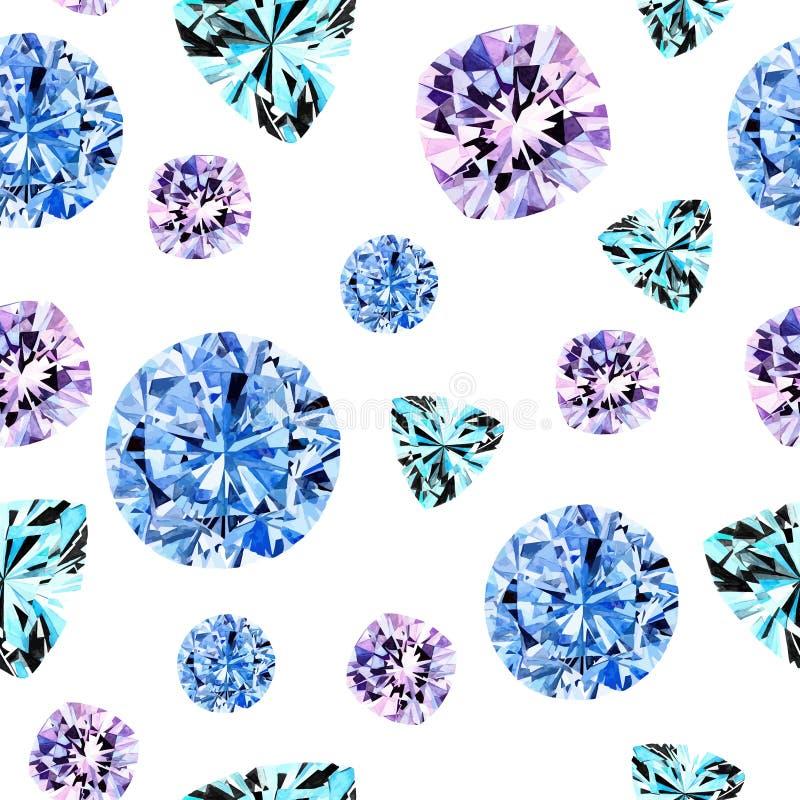 水彩蓝色金刚石样式 皇族释放例证