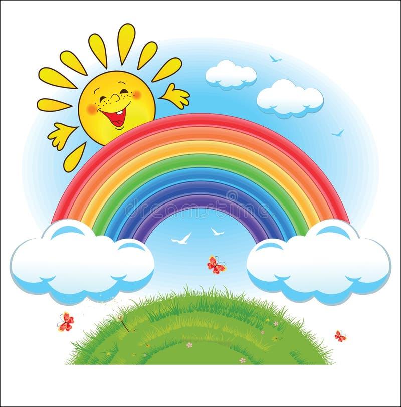 彩虹、云彩和太阳 库存例证