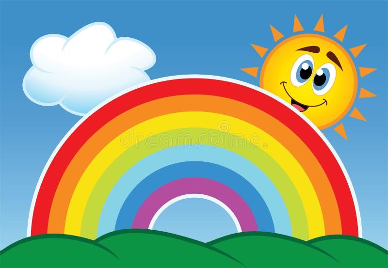 彩虹、云彩和星期日 向量例证