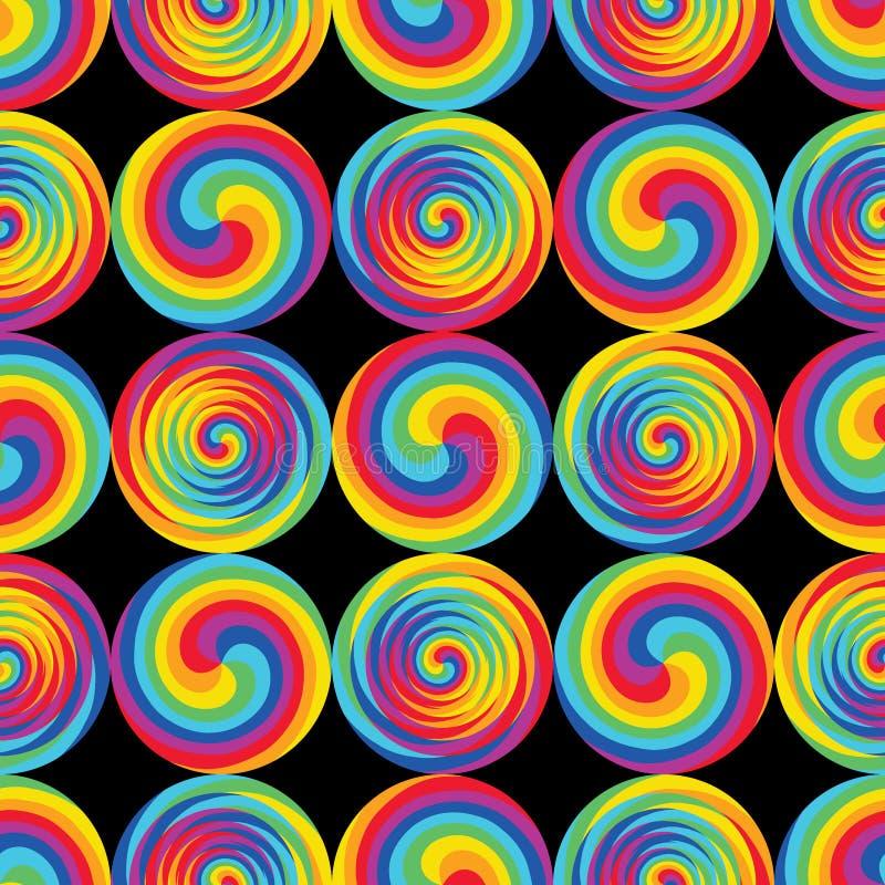 彩虹上升了积极的漩涡圈子黑色无缝的样式 向量例证