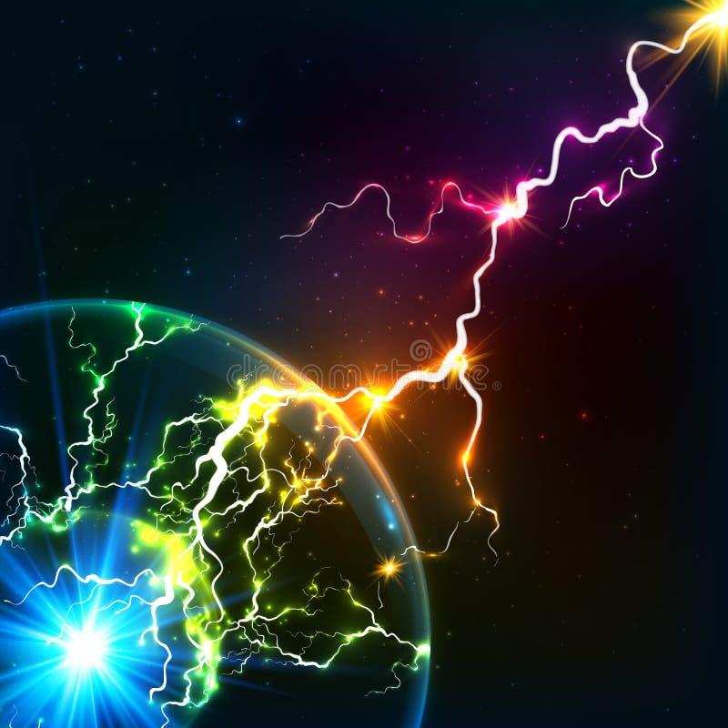 彩虹上色光亮的宇宙等离子闪电 皇族释放例证