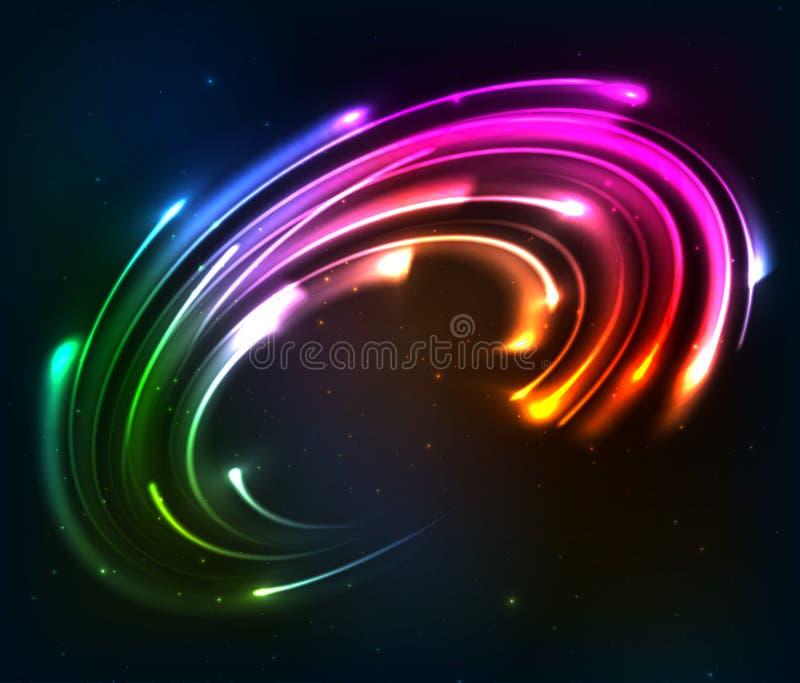 彩虹上色发光的霓虹灯转动 皇族释放例证