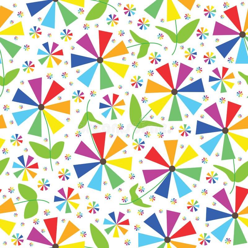 彩虹上色花无缝的模式 库存例证