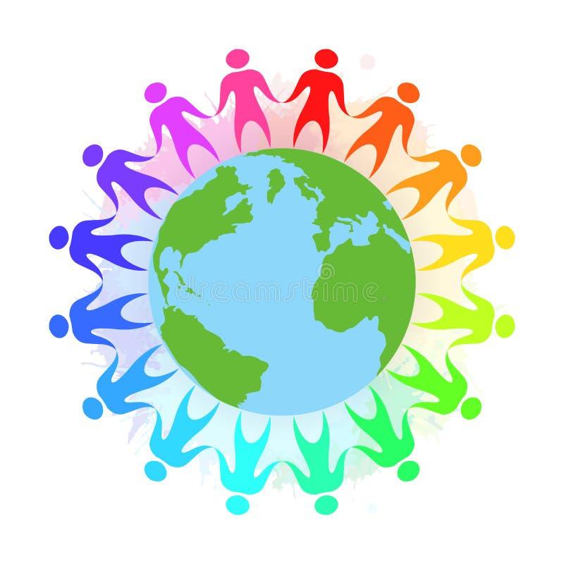 彩虹人的例证握手的 向量例证