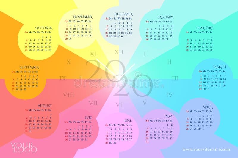 彩虹以一个时钟的形式挂历2020年与在圈子,星期,罗马数字的几个月 皇族释放例证