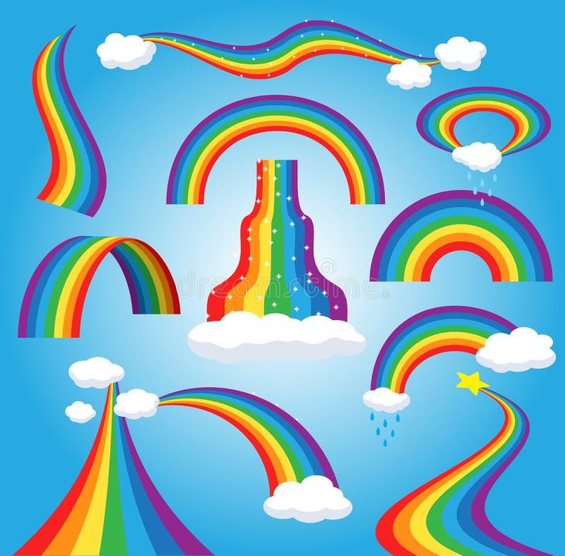 彩虹传染媒介五颜六色的鞠躬的弧在下雨天空多彩多姿的动画片曲拱或弓范围中与多雨云彩的颜色 向量例证
