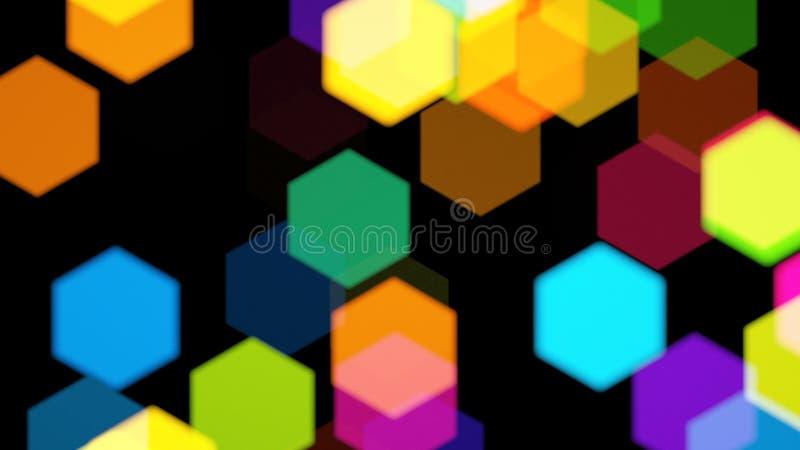 彩虹六角形的Bokeh 免版税库存照片