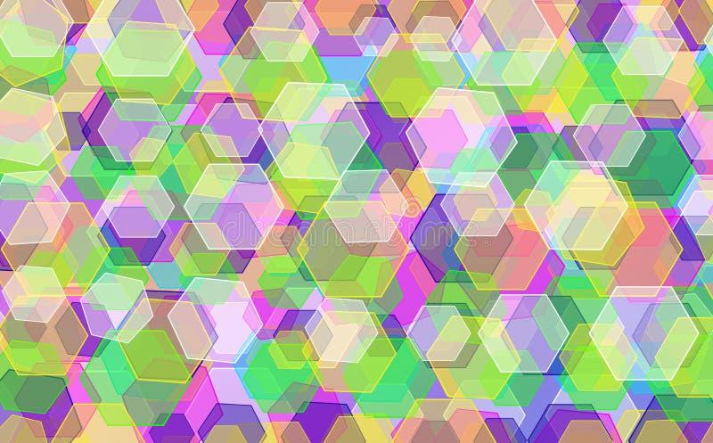 彩虹六角形背景 库存例证