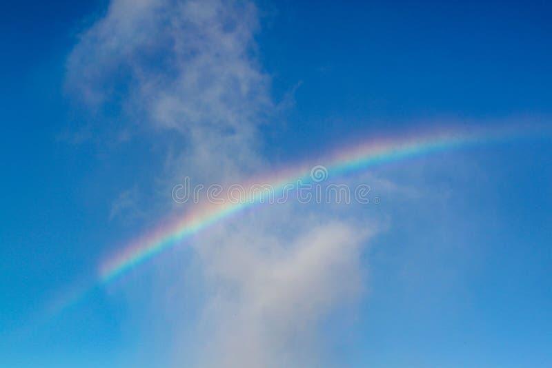 彩虹出色的意见在天空蔚蓝的 r 库存照片