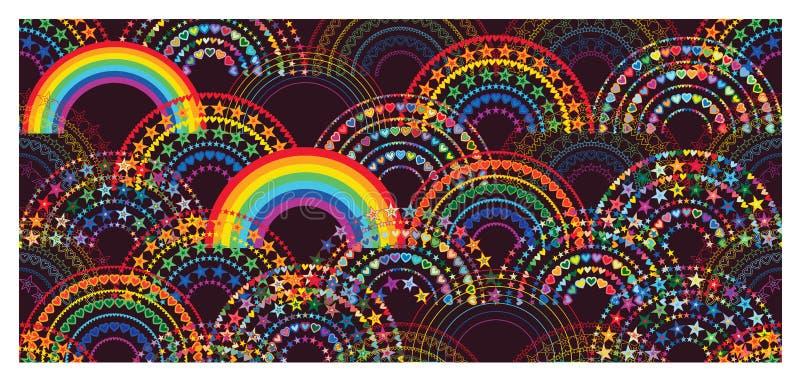 彩虹半爱星五颜六色的半日本无缝的样式 库存例证