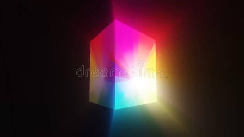 彩虹发光的立方体 库存例证