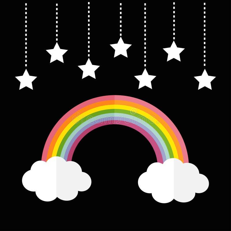 彩虹和两朵白色云彩 垂悬在破折号线绳索的星 LGBT标志标志 平的设计 黑色背景 库存例证