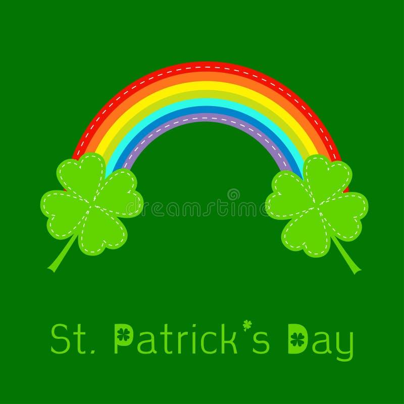 彩虹和两片三叶草叶子。St Patricks天卡片。平的设计。 库存例证