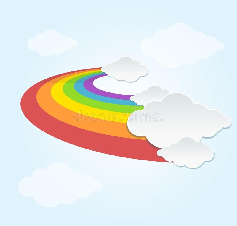 彩虹和云彩在天空 向量 库存例证