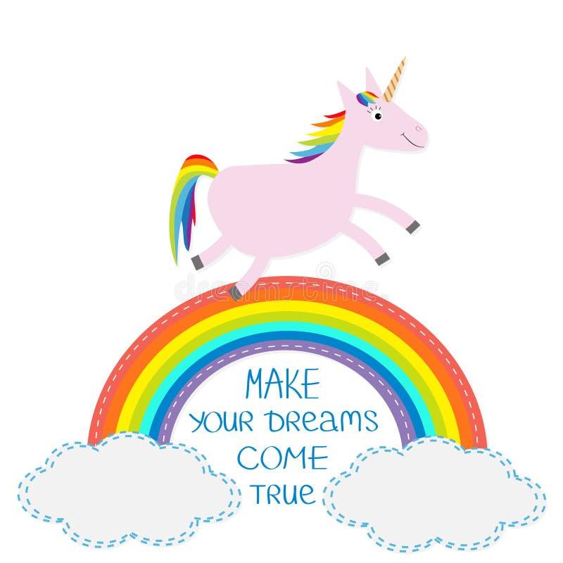 彩虹和云彩在天空 逗人喜爱的独角兽 做您的梦想实现 库存例证