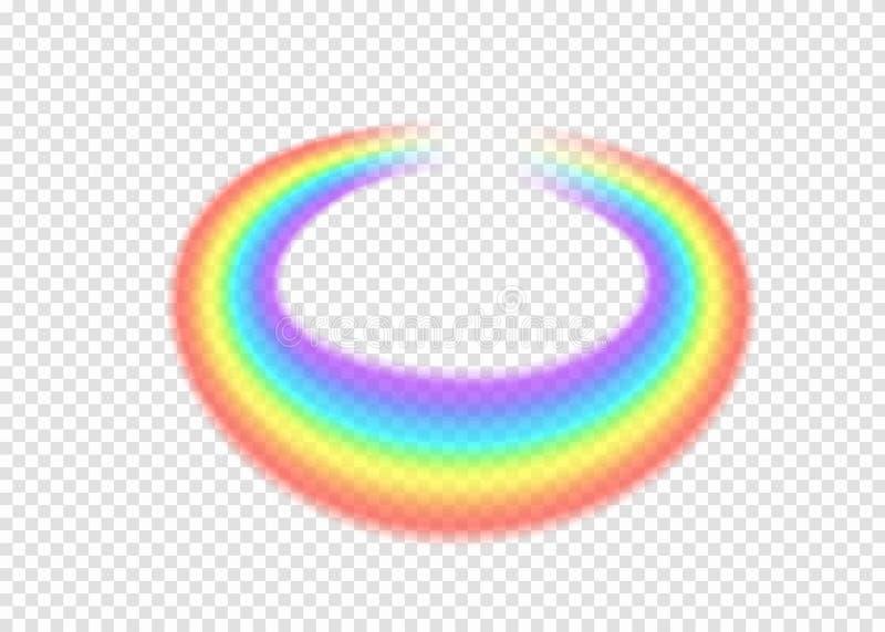 彩虹圆与在透明背景的清澈部分边缘 皇族释放例证