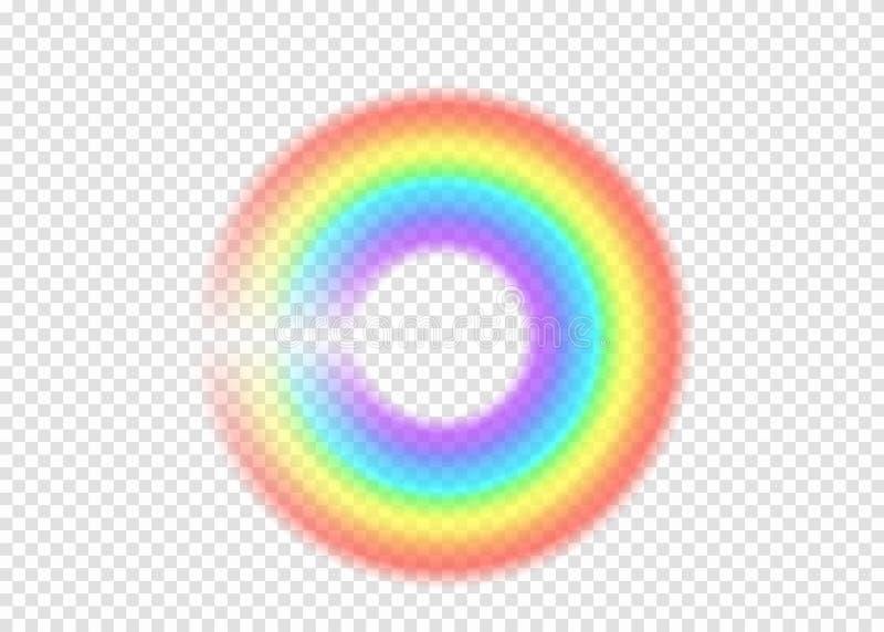 彩虹圆与在透明背景的清澈部分边缘 库存例证