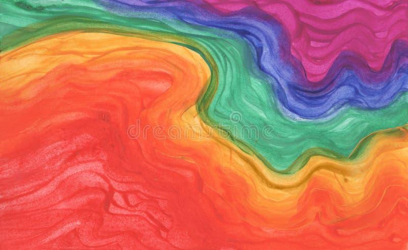彩虹在树胶水彩画颜料背景中 免版税库存图片