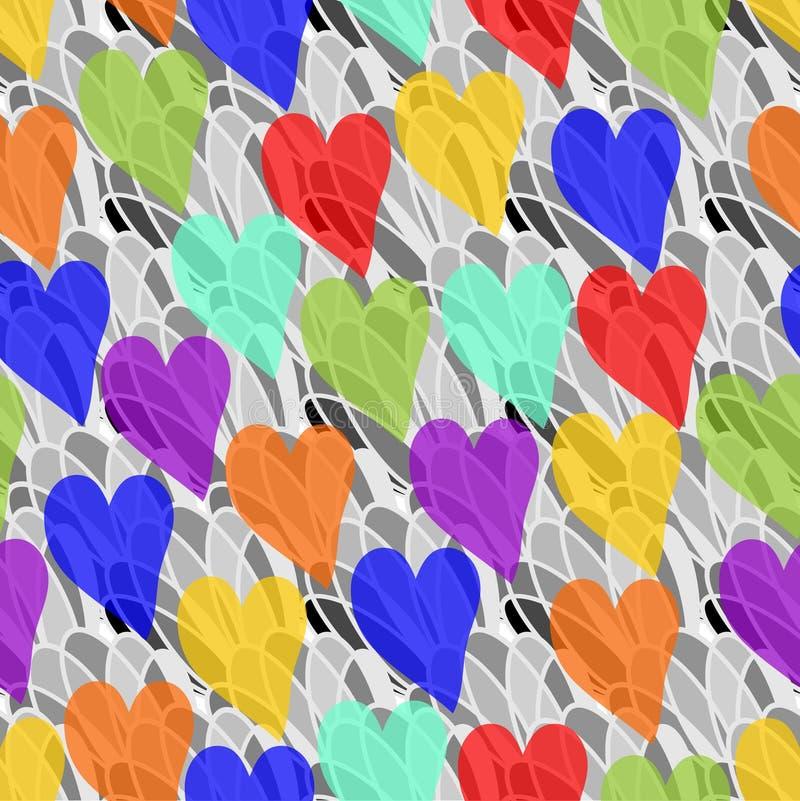 彩虹在灰色背景的透明度心脏 皇族释放例证