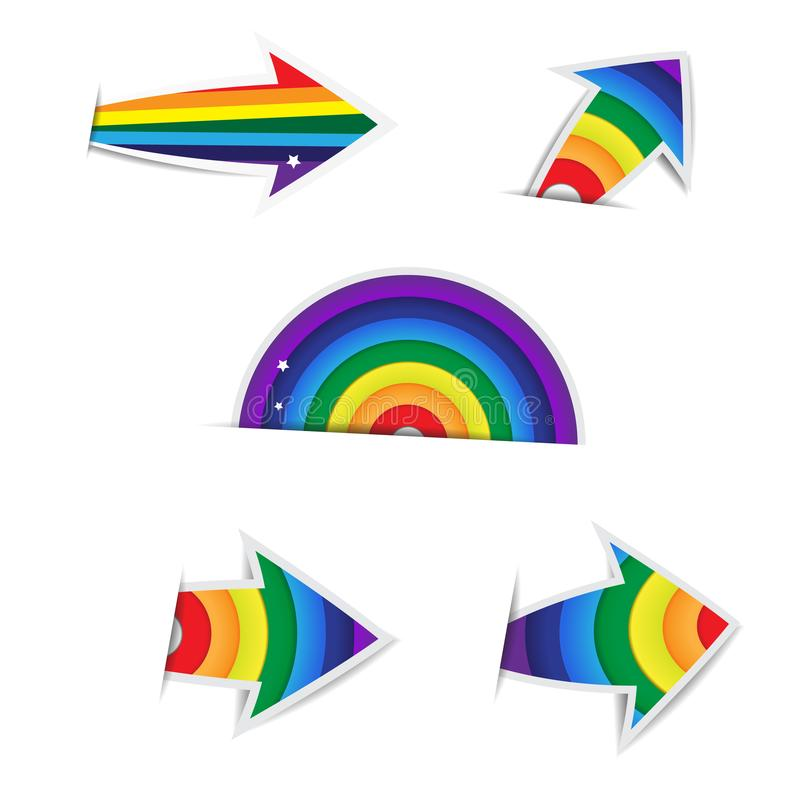 彩虹在白色背景的箭头纸 皇族释放例证