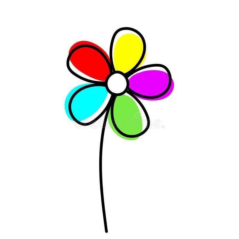 彩虹在白色背景的色的花传染媒介 简单的纯稚设计 向量例证
