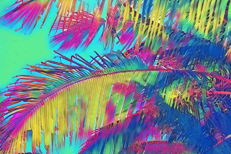 彩虹在霓虹背景的色的椰树棕榈叶 热带自然数字例证 异乎寻常的海岛横向 库存例证