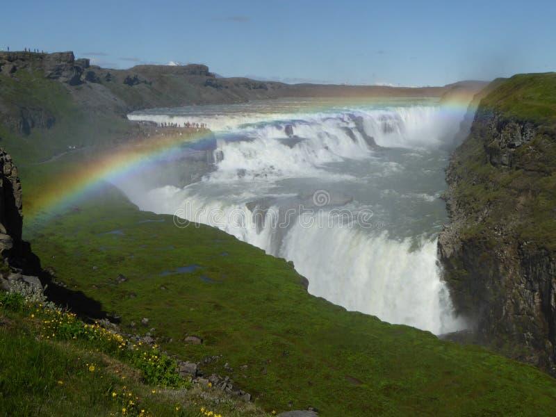 彩虹在Gulfoss冰岛 免版税图库摄影