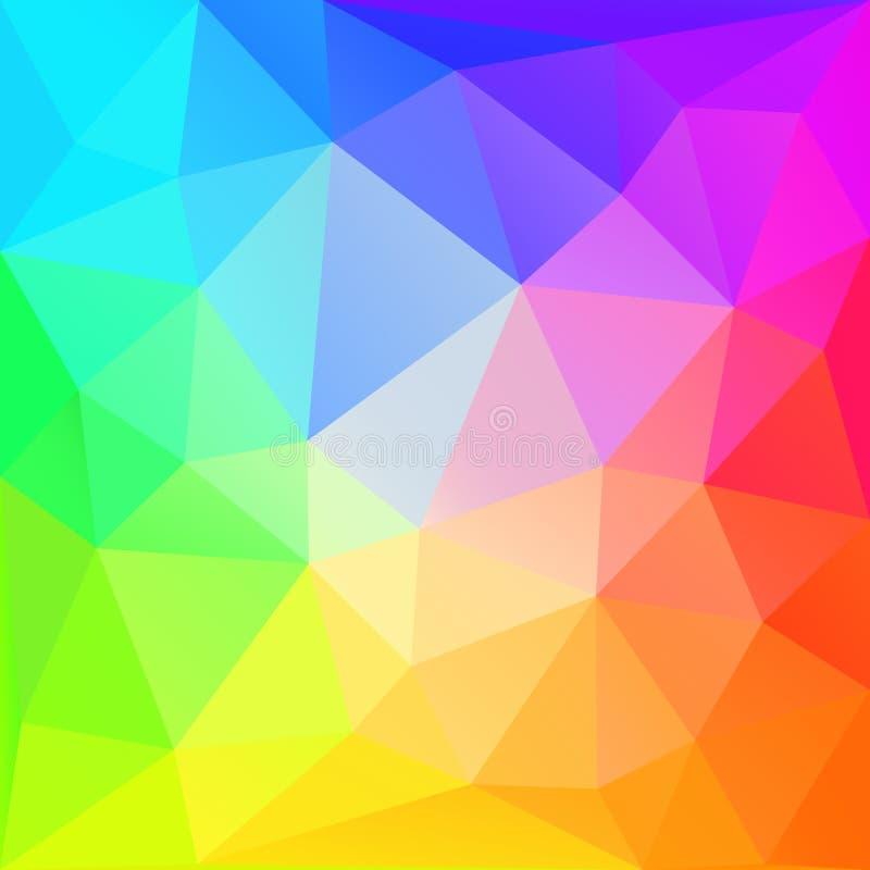 彩虹多角形背景 eps10开花橙色模式缝制的rac ric缝的镶边修整向量墙纸黄色 皇族释放例证