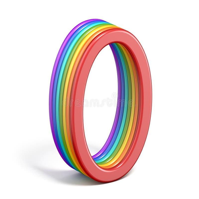 彩虹字体号0零的3D 向量例证