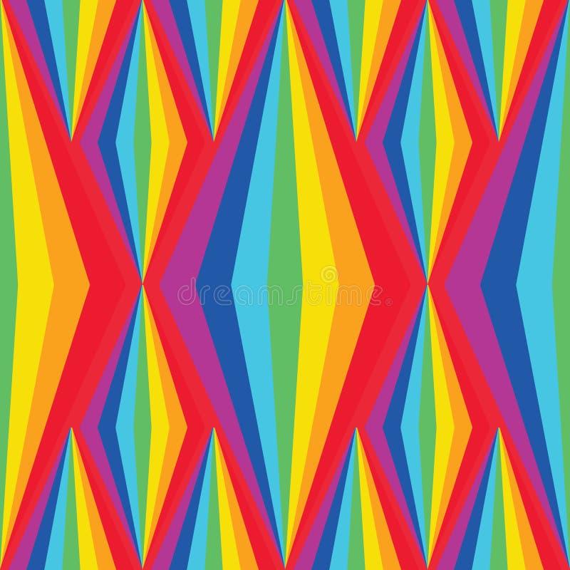 彩虹对称时髦的金刚石高垂直的无缝的样式 库存例证