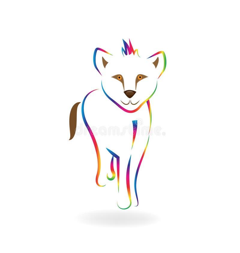 彩虹小狮子线艺术传染媒介标志 向量例证