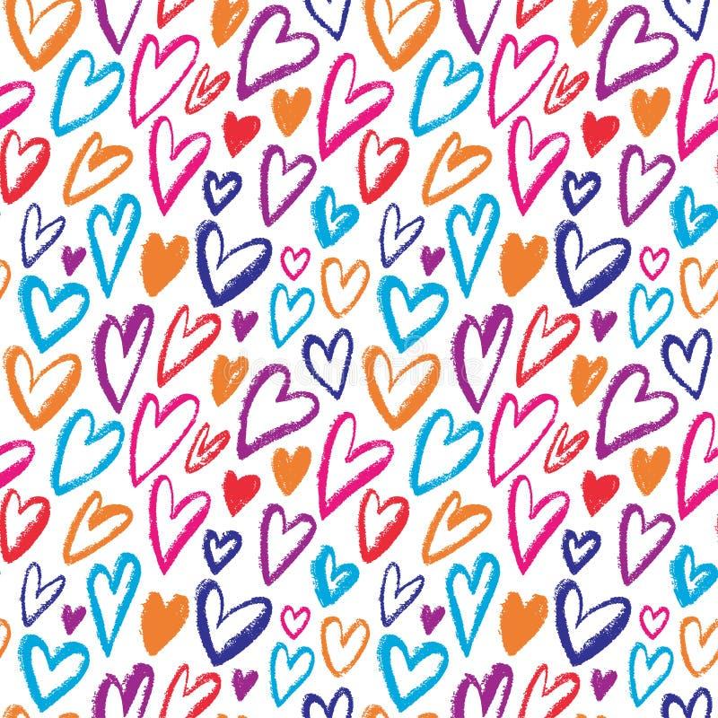 彩虹心脏无缝的样式 重复纹理的传染媒介 包装纸、孩子纺织品设计或者时尚prin的明亮的装饰品 库存例证