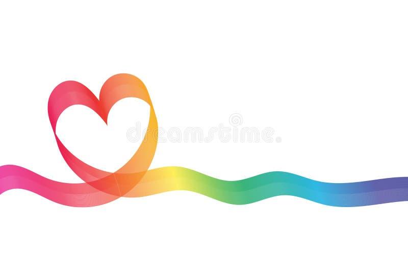 彩虹心脏背景 薄绢喜欢丝带心脏 10个背景设计eps技术向量 皇族释放例证