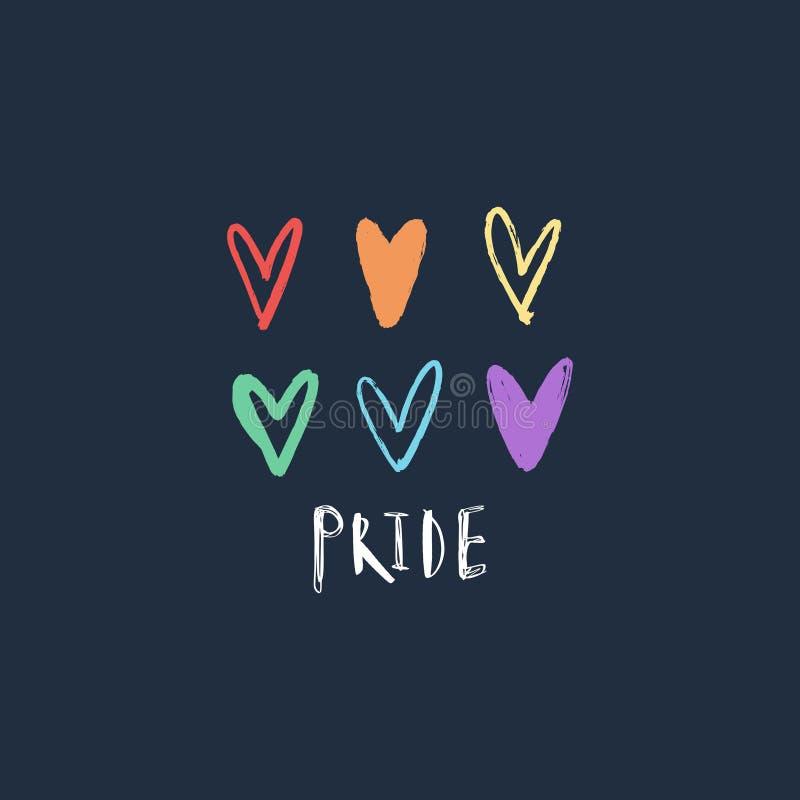 彩虹心脏集合 LGBT?? 彩虹心形 在游行上写字的自豪感 卡片,横幅,海报和更 ?? 皇族释放例证