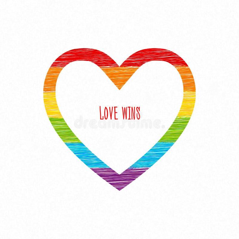 彩虹心脏,爱赢取题字 剪影铅笔图 库存例证