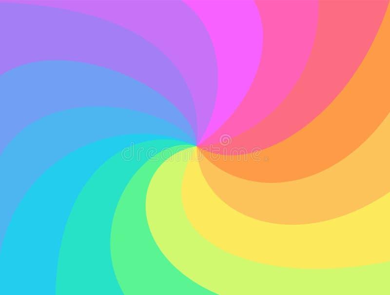 彩虹扭转的螺旋背景 向量例证