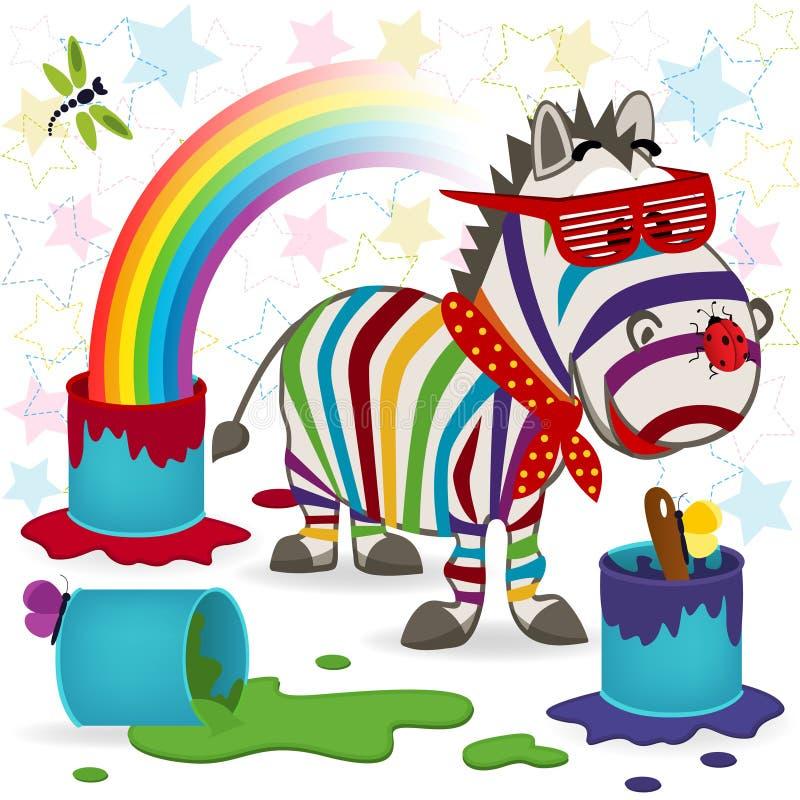 彩虹斑马 向量例证