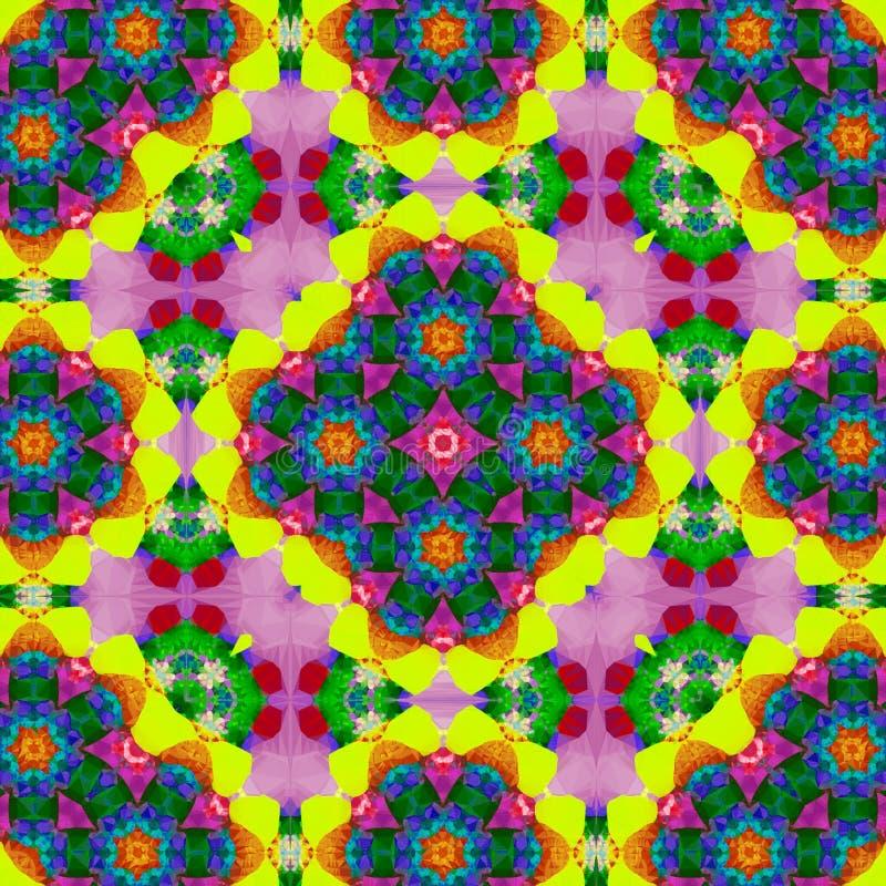 彩虹方形的口袋的,披肩,纺织品万花筒设计 佩兹利花卉样式 向量例证