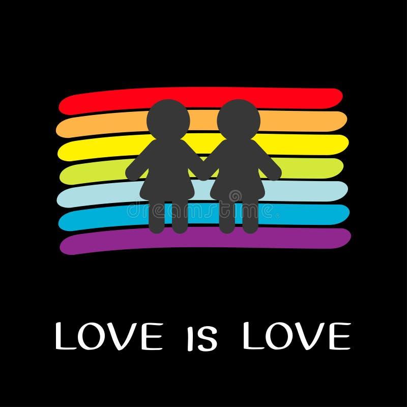彩虹旗子背景 LGBT快乐标志 爱是爱文本行情 两名妇女婚姻标志 五颜六色的线集合 r r 皇族释放例证