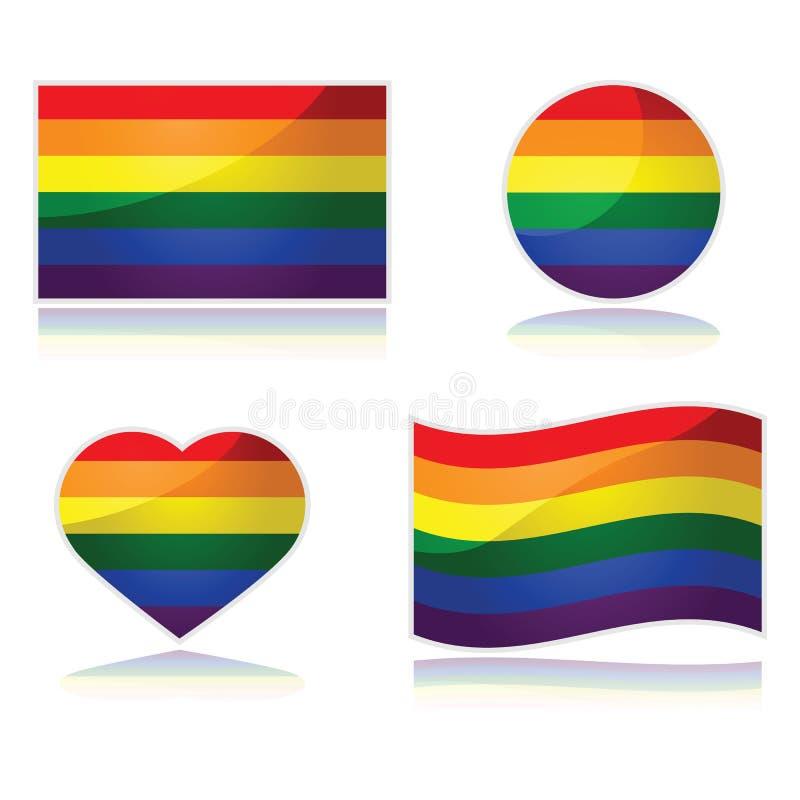 彩虹旗子集合 向量例证