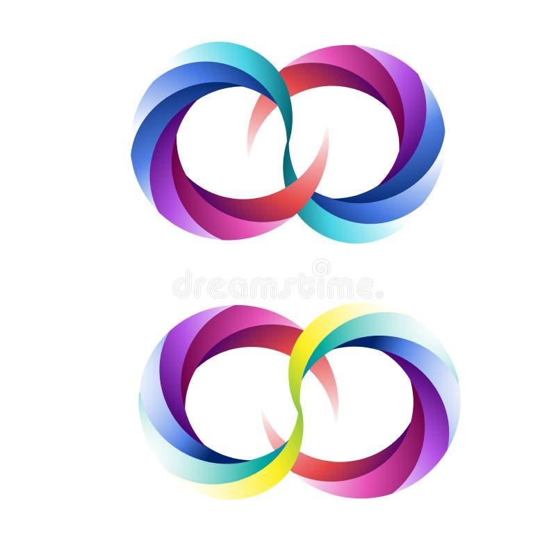 彩虹无限标志螺旋商标 向量例证