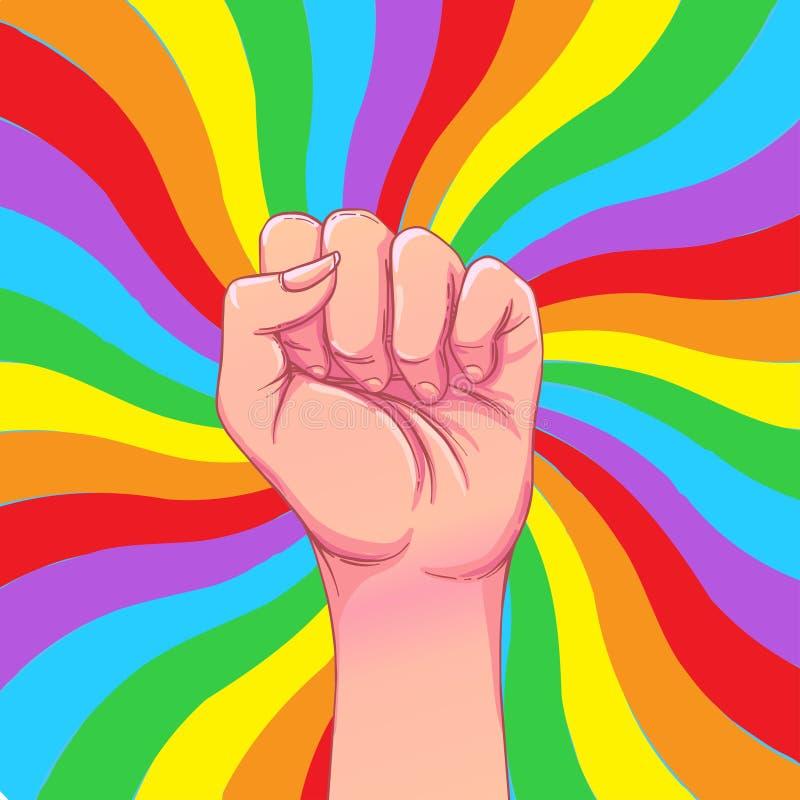 彩虹有被举的拳头的色的手  快乐自豪感 浓缩的LGBT 库存例证