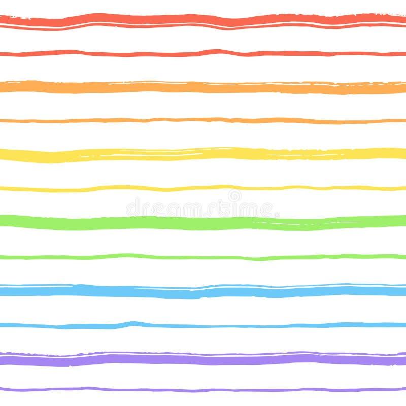 彩虹构造了刷子条纹,冲程不尽的背景 向量例证