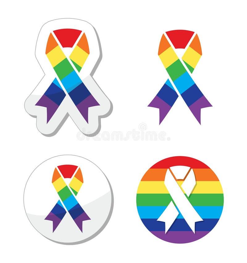 彩虹标志丝带-同性恋自豪日和技术支持的符号GLBT社区 皇族释放例证