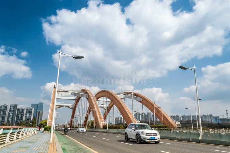 彩虹桥梁交通场面 库存照片