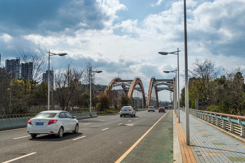 彩虹桥梁交通场面2 库存图片