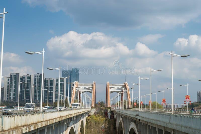 彩虹桥梁在贵阳市 免版税库存图片