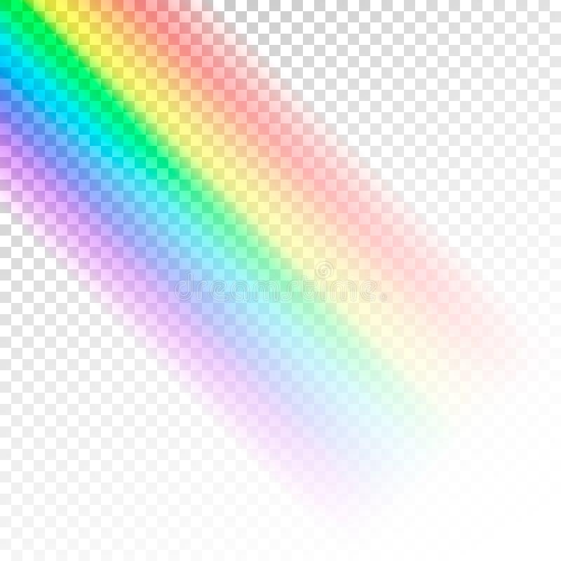 彩虹模板 光抽象五颜六色的光谱  在透明背景隔绝的传染媒介例证 库存例证